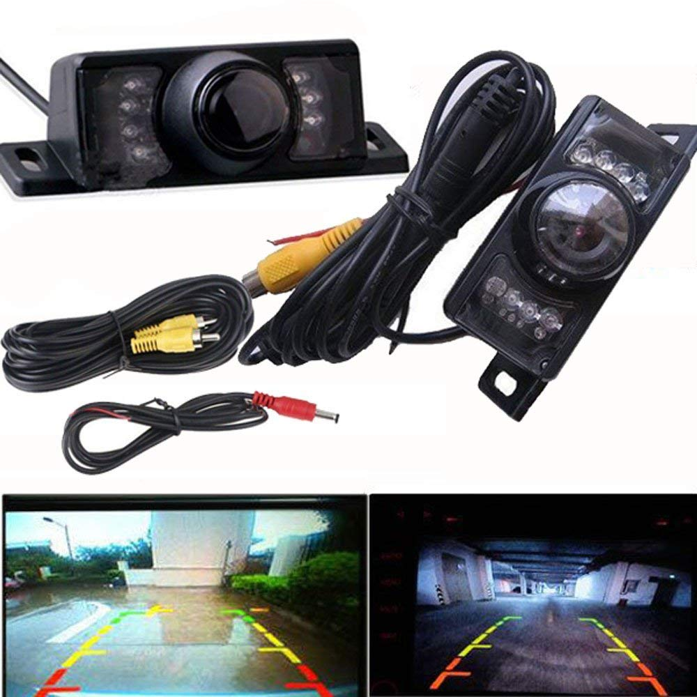 Car Rear View LED Camera,Quaanti Night Vision Infrared Light Parking Car Rear View Wide Angle Backup Camera Wide Angle Car Rear View Reversing Camera (Black)