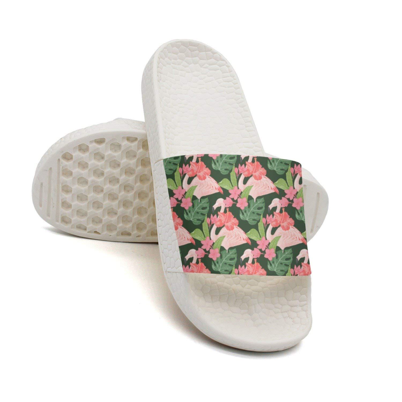 HSJDAPOCOAQ Pink Flamingo With Beautiful Tropcal Flowers Bath Slipper Anti-Slip For Men