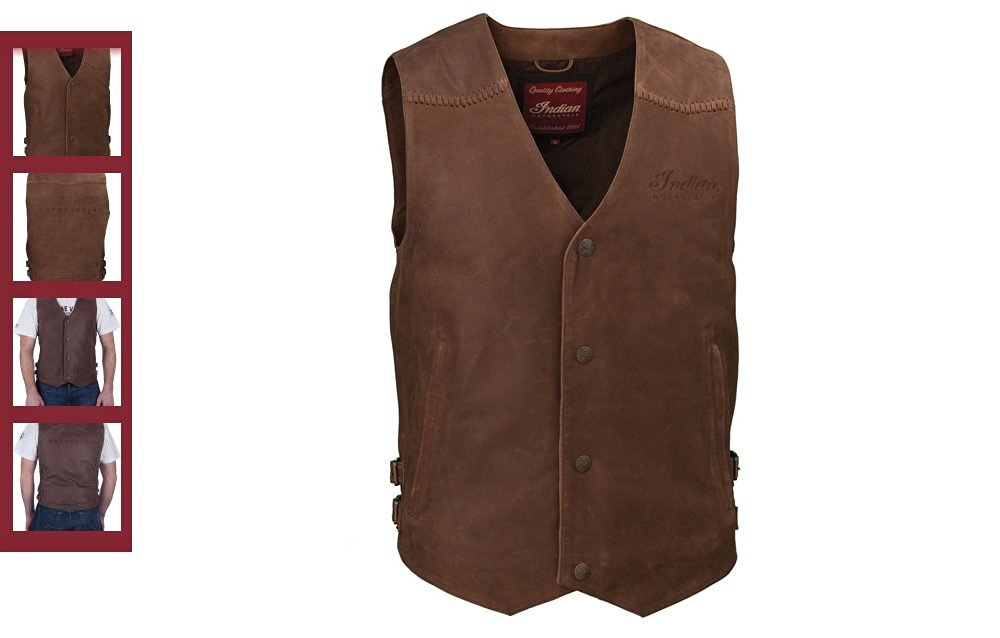 Indian Motorcycle Men's Brown Leather Vest (2XL) 286370712