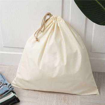 Custom Eco Organic Cotton Canvas Drawstring Handle Large Laundry Bag For Hotel