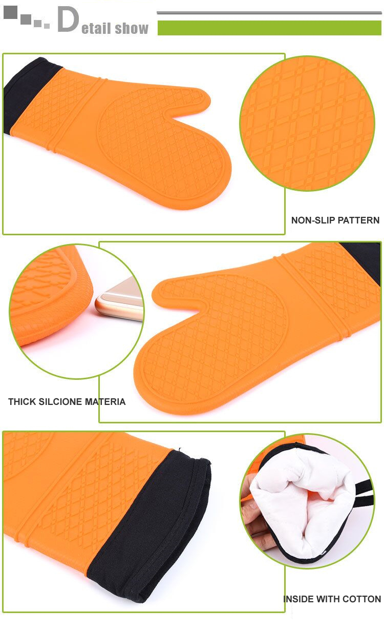 extra Long Silicone rubber cotton microwave use Oven mitts glove with Quilted cotton lining