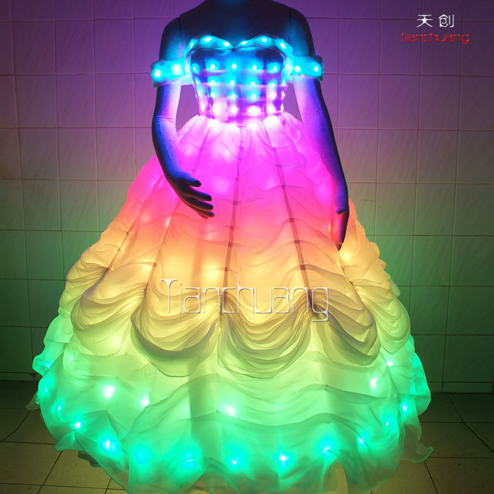 Multi-Color Change Effected Party Nightclub LED Lighting Wedding Luminous Prom Costume Dress