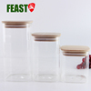 FEAST 3 pcs square shape glass storage jar canister with wooden lid