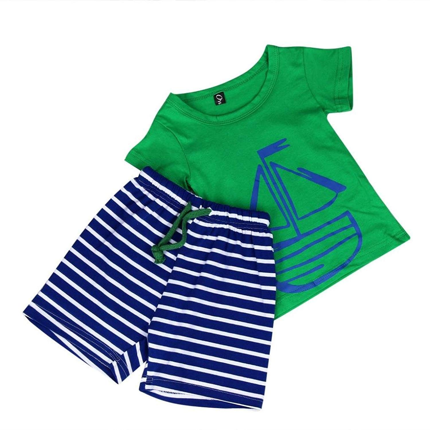 Kehen Kids Toddler Boys Girls Short Sleeve Cotton T-Shirt Tops + Stripes Shorts 2pcs Summer Casual Outfits