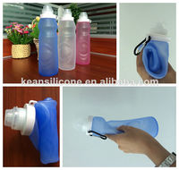 Eco-Friendly Collapsible Silicone Water Bottle Sunscreen Carabiner Silicone Bottle