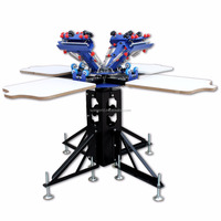 006241--E442L--4 color 4 station manual screen silk printing machine for T shirt