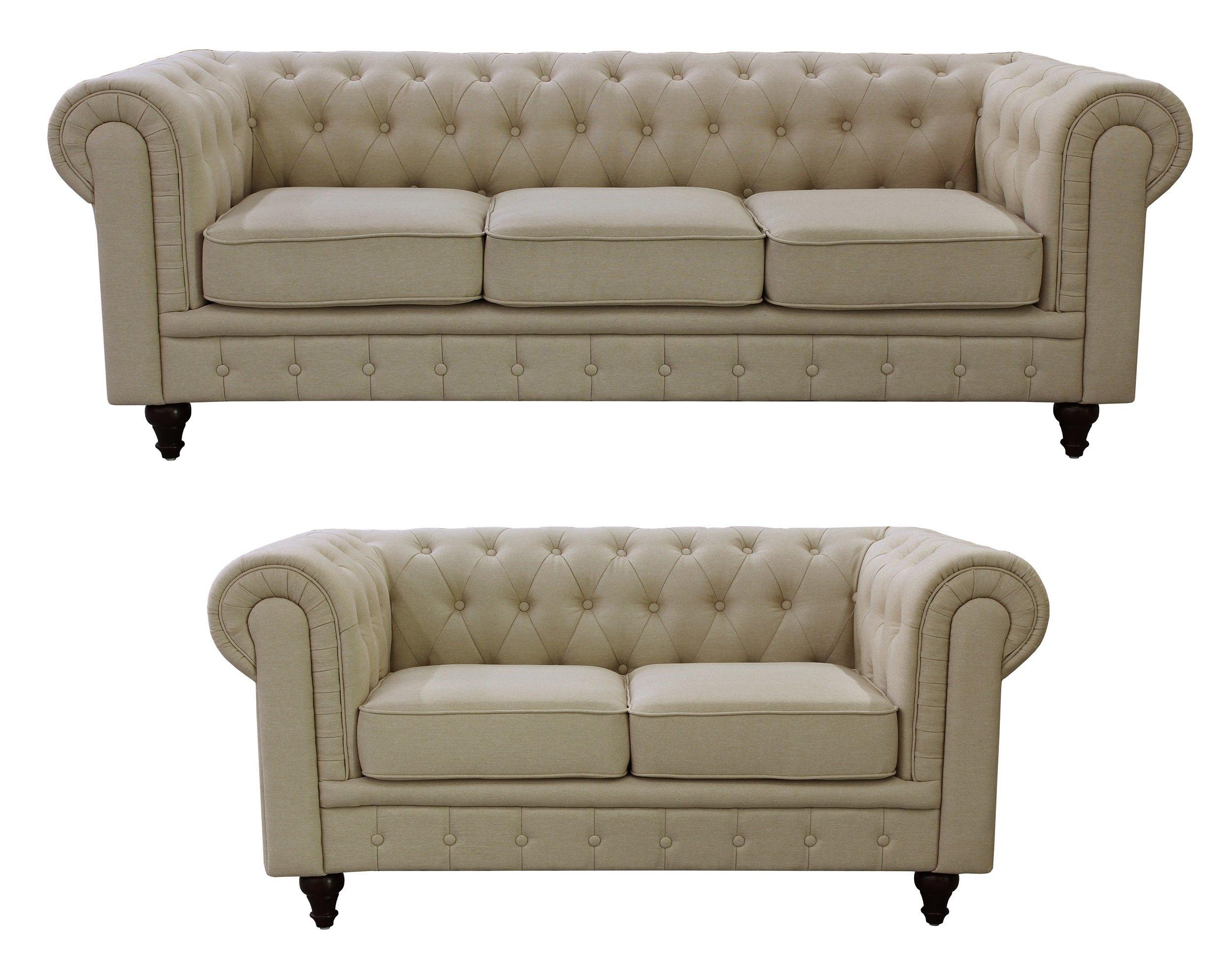 US Pride Furniture S5071 2PC Linen Fabric Chesterfield Sofa Set, Beige