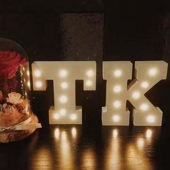Decorative light up wooden alphabet letter diy led letter lights sign party wedding holiday marquee