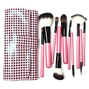 10 Pcs Makeup Goat Hair Make up Brush Pony Hair Brushes Kit Ultra Soft Synthetic Hair Brush in Pink Lattice Leather Bag