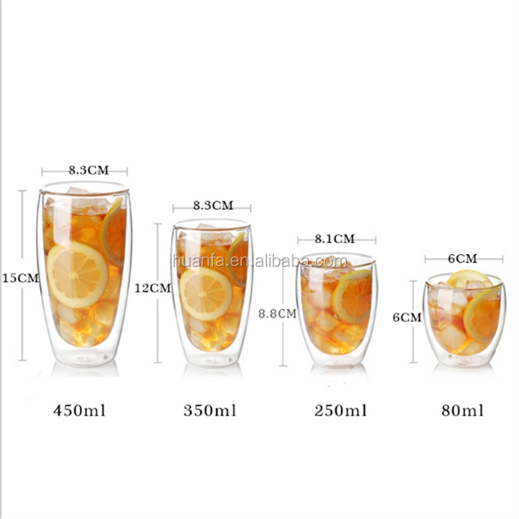 High borosilicate double wall clear glass thermal espresso cup,lead-free thick wall coffee tea beer glass mug