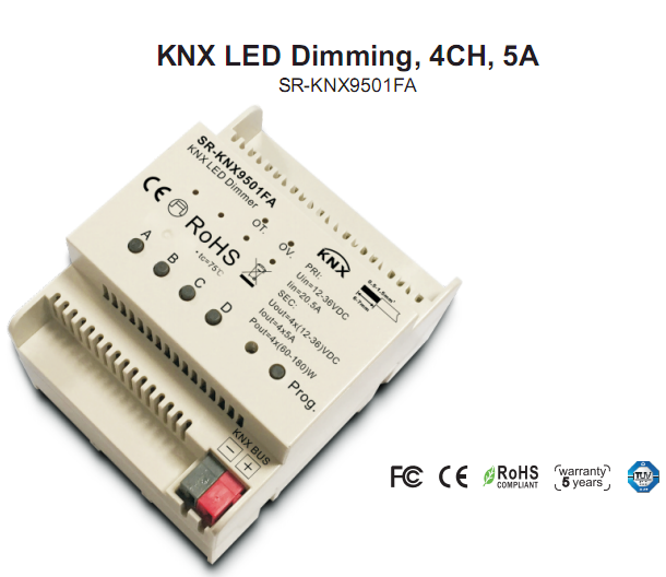 LED dimming 4 channels and DIN rail mounting SR-KNX9501FA