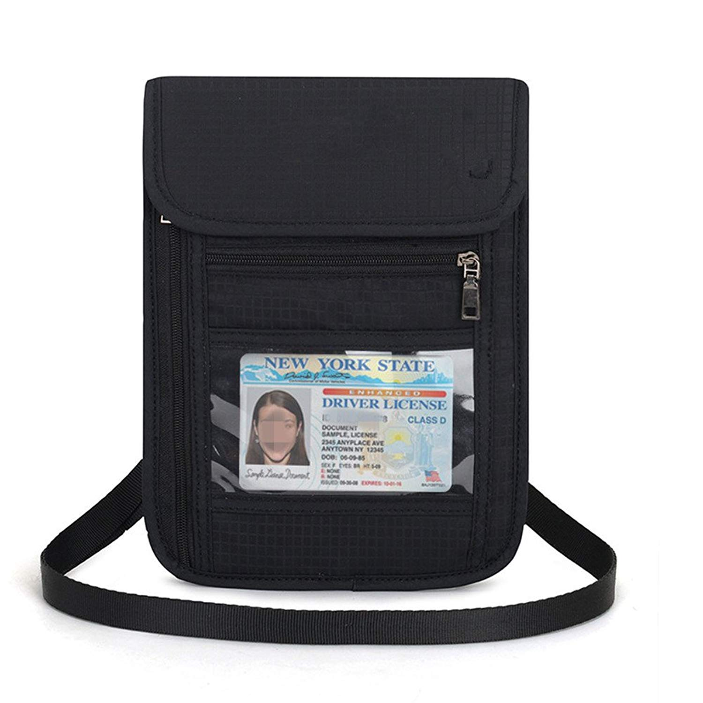 SimpleLif Mens Passport Holder RFID Blocking Credit Card Badges Holder Travel Passport Wallet ID Cover Case