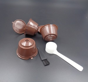 Reusable coffee capsule cups Filter with Plastic Spoon for Dolce Gusto Brewers