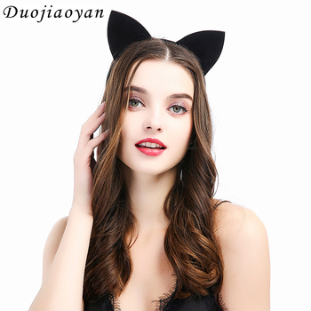 MM5 Hot Saling Cosplay Animal Ears Hair Band Black Ears Headband Dance Party Hair Accessories