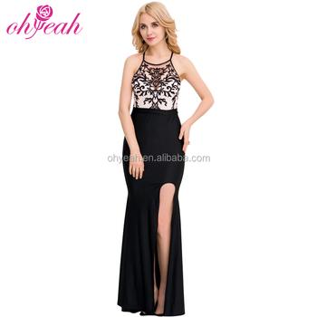 617c6031249c9b0 Горячая оптовая продажа черный Вышивка Холтер вечернее платье красивые  черные платья
