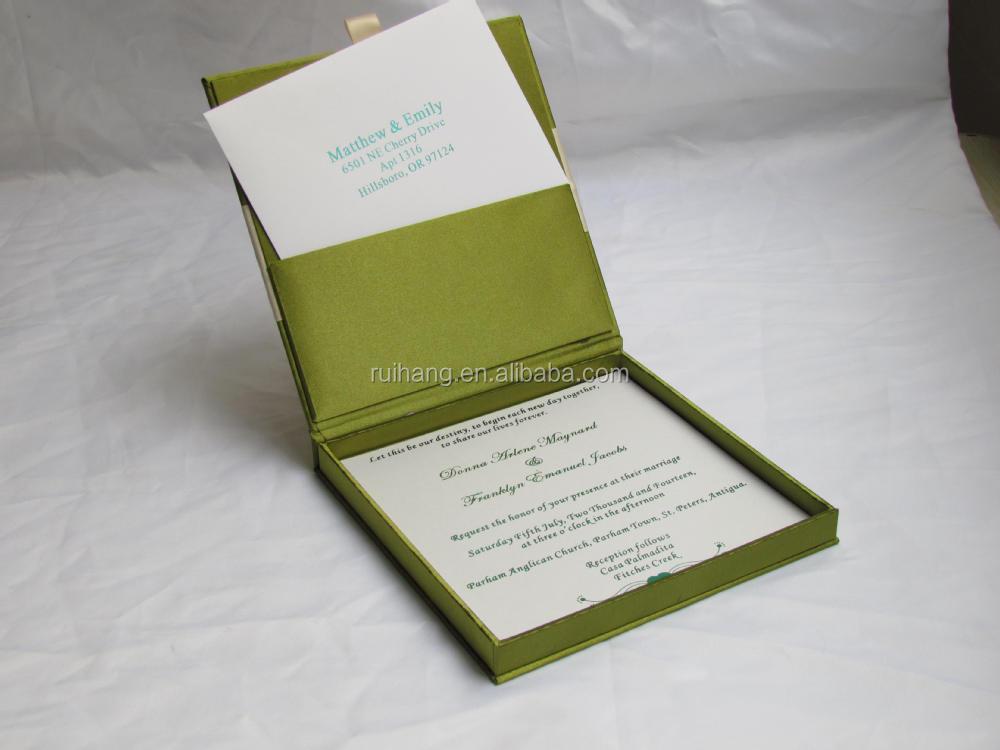 Boxed Wedding Invitations Wholesale: Green Luxury Gatefold Silk Box Wedding Invitations
