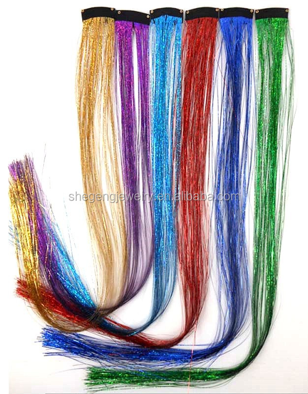 Metallic Glitter Tinsel Laser Hair Extension Long Straight Hairpiece