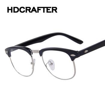 a5658b7e5041 Classic Retro Clear Lens Nerd Frames Glasses Fashion brand designer Men  Women Eyeglasses Vintage Half Metal