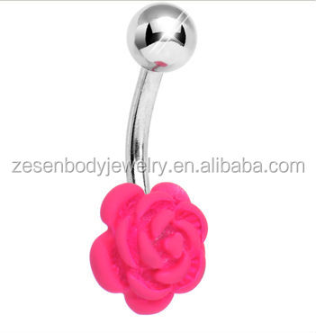 Pink Neon Solitary Blooming Rose Belly Ring navel piercing jewelry