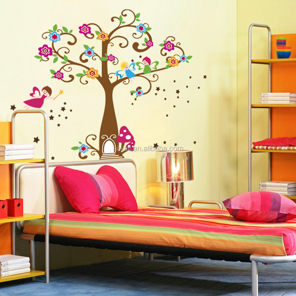 5095-d Colorful Tree Wall Stickers Christmas Decoration Window ...
