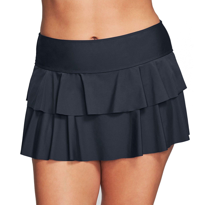 4aab967f9a722 Get Quotations · MAZU Double Ruffle Plus Size Swim Skirt Black Size 24