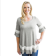 Grey Striped Color Block Half Sleeve Babydoll women Tunic tops for Girls