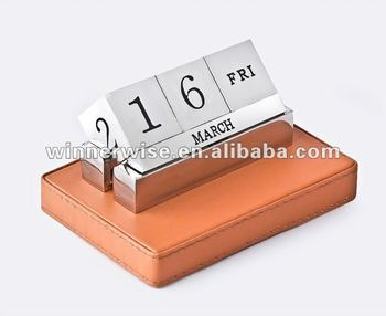 Metal Block Desk Calendar In Pu Base Buy Desktop Calendar Metal