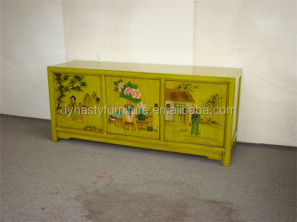 ancient yellow antique wooden chinese cabinet