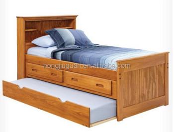 Capitano letto di legno stoccaggio letto in legno con libreria