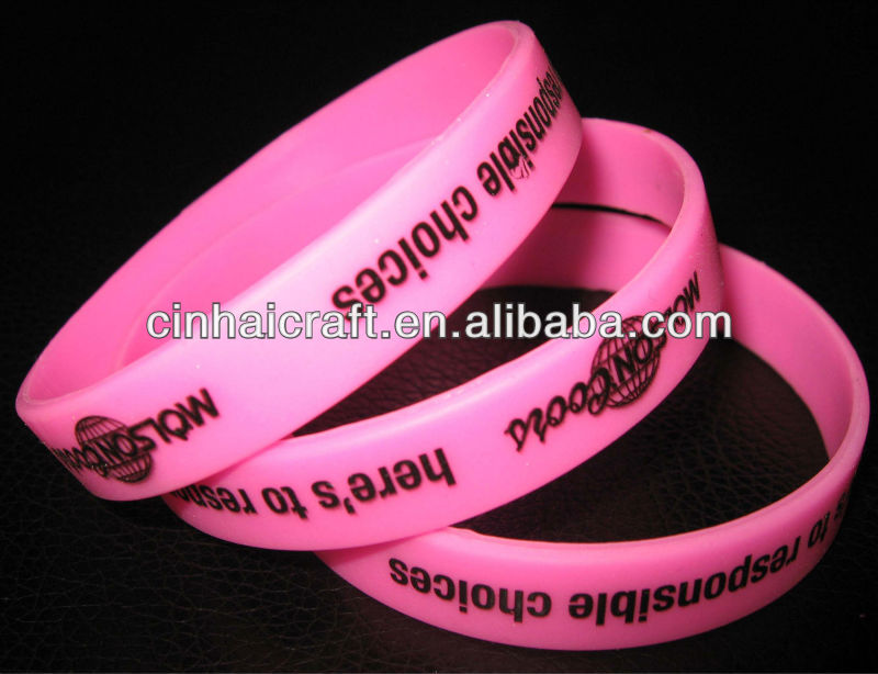 factory directly wholesale cheap customized pink Silicone Hand Band with print logo