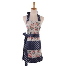 New Women Restaurant Home KitchenHigh Quality Pleated apron Flower And Leaves Printed Pocket Lace Cooking Cotton Apron