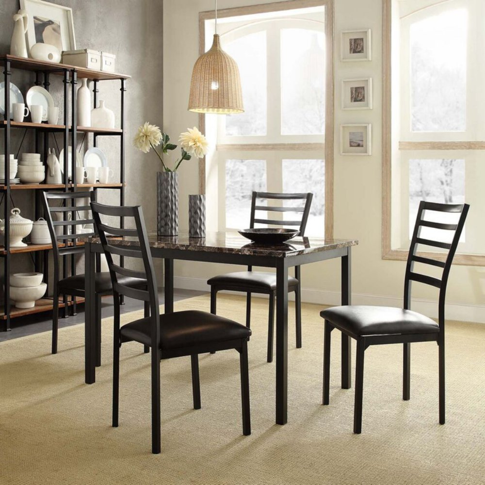 Homelegance Hamilton Faux Marble 5-Piece Metal Dining Set