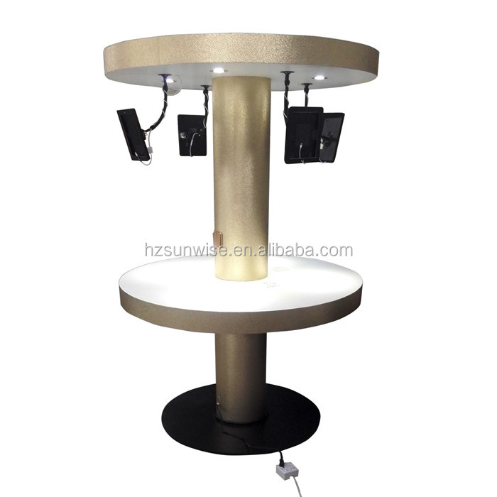 Custom 2 tier mdf wood material wove paper surface tablet display stand with light