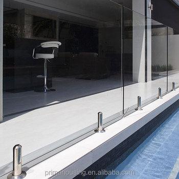 Balkon Terrasse Edelstahl Spigots Hardware Gehartetes Glas Gelander