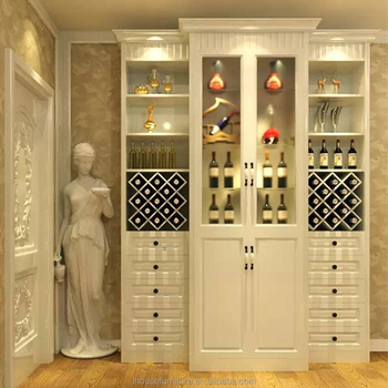 Guangdong Antique High Gloss White Liquor Wine Cabinet/Antique Liquor  Cabinet/High Gloss White