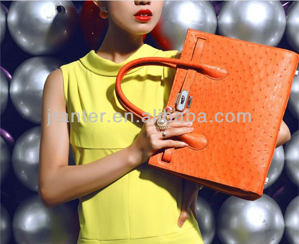 Ostrich Skin Tote Bag for Ladies Genuine Leather Luxury Handbags Handmade Women Handbag