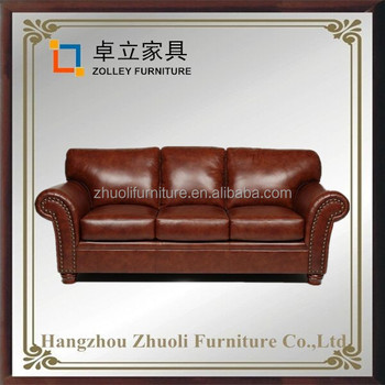 Luxury Classic European Sofa Set True Leather Three Seat Sofa Factory Direct