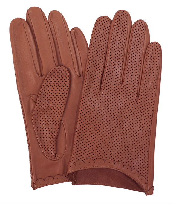 Womens perforated unlined leather gloves