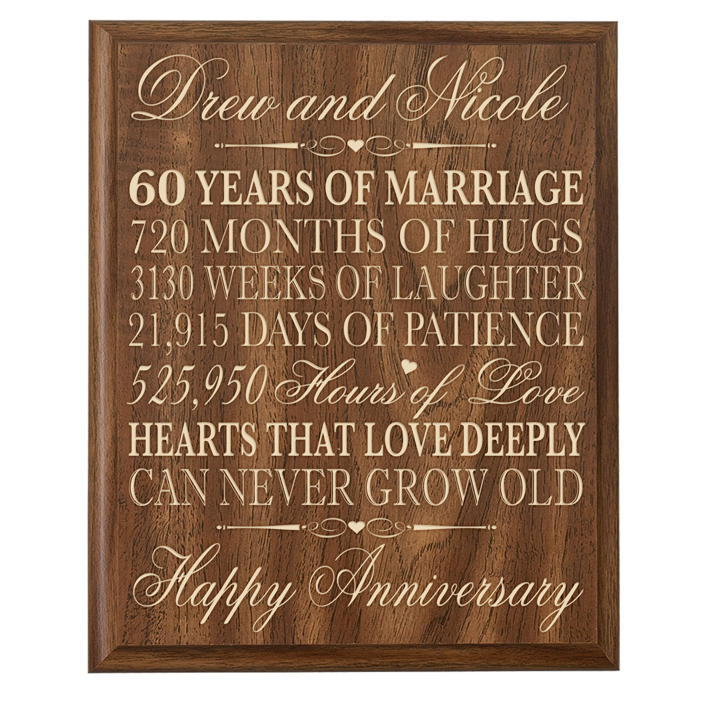 Personalized 60th Parent Wedding Anniversary Wall Plaque Gifts for Couple, Custom Made 60th Anniversary Gifts