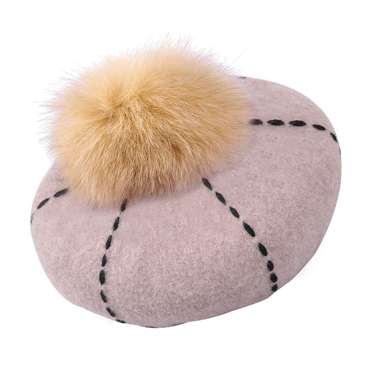 67e25372d28a0 Get Quotations · Home Prefer Womens Winter Wool Hat Faux Fur Pom French  Beret Cap