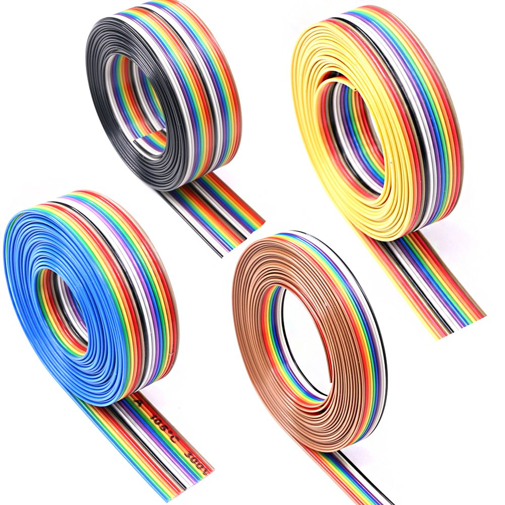 2.54mm Pitch 2*8 Pin 16 Pin Female to Female IDC Connector Rainbow Color Ribbon Flat Cable