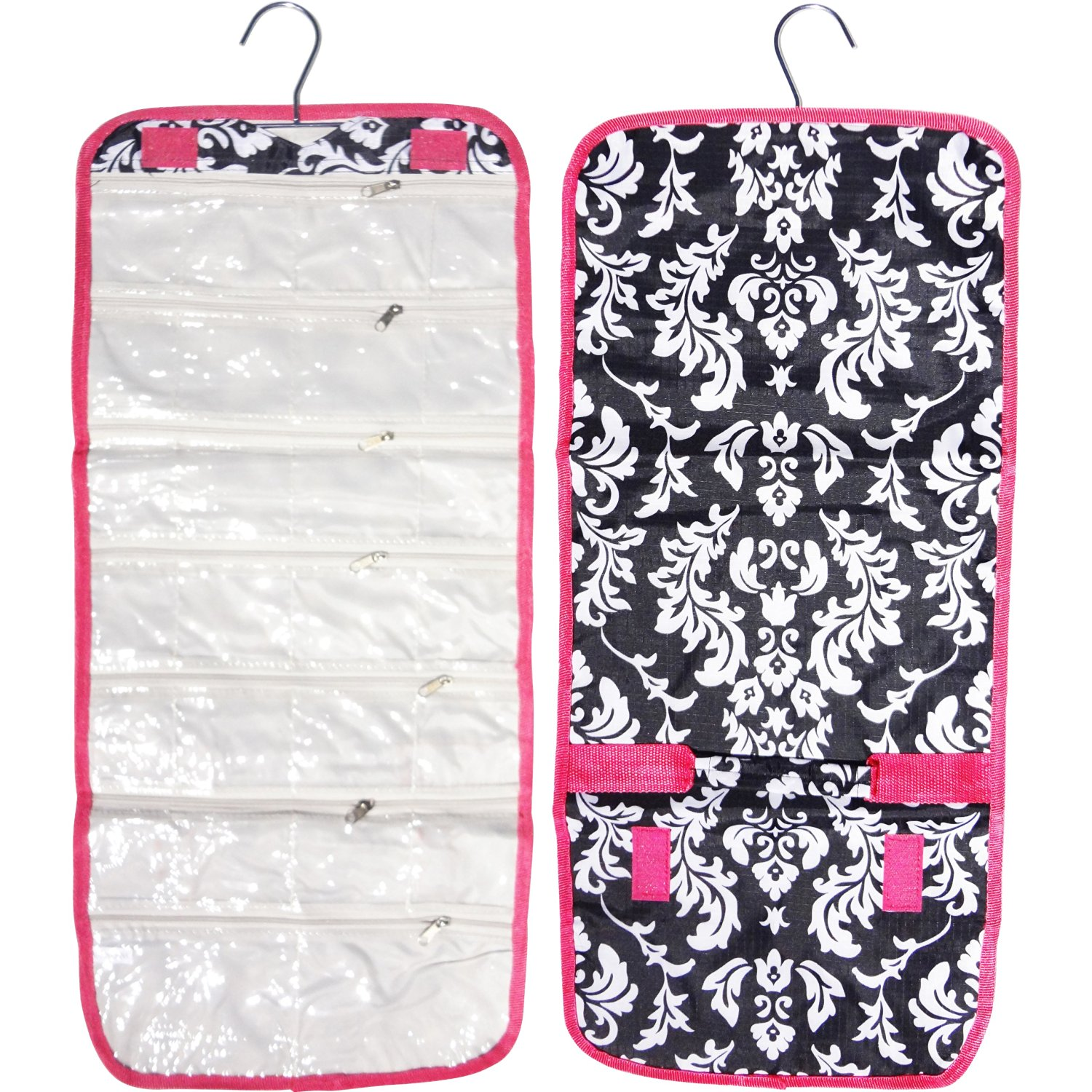 Buy Popular Damask Pink Trim Hanging Jewelry Hanger Travel Bag Roll