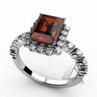 White Gold Garnet Ring with Diamonds