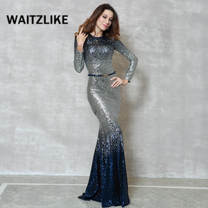 Guangzhou factory manufactures formal ladies sequins fish cut evening party dresses