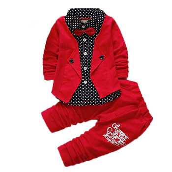a8422ca90ff6 2017 Autumn Casual Boys Clothing Set Baby Kids Button Letter Bow ...
