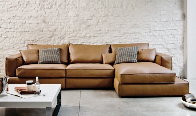 Modern Italian Top Grain Cowleather Sectional Couch For Home Furniture