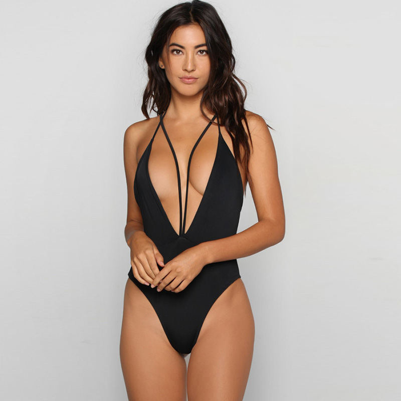 Bikini Thong Swimsuit One Piece Deep V Neck Bathing Suits High Leg Cut Swimwear Women Swimsuits Fused Solid Monokini Swimsuits