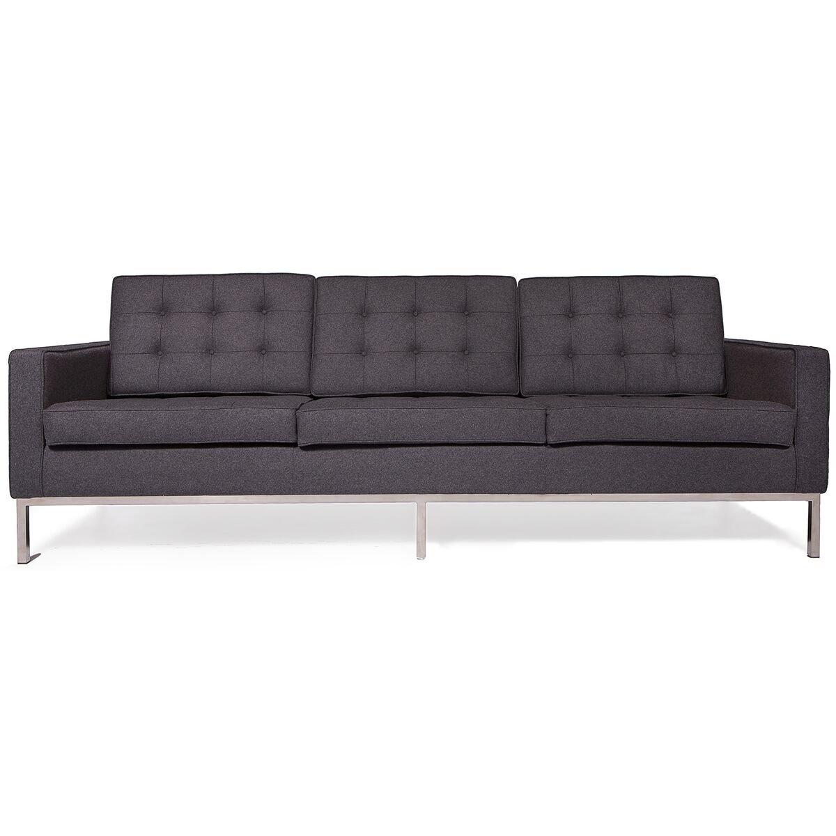 LeisureMod Florence Style Mid Century Modern Tufted Sofa (Dark Grey Wool)