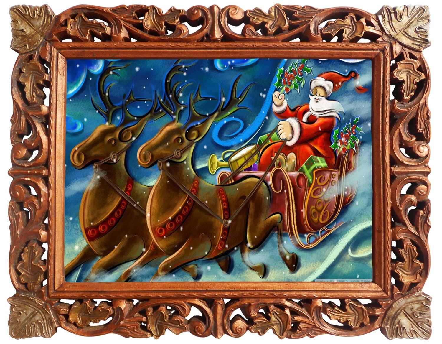Santa Claus and His Reindeer, Poster Framed in Wood Craft Frame, Indian Wood Decorative Frame
