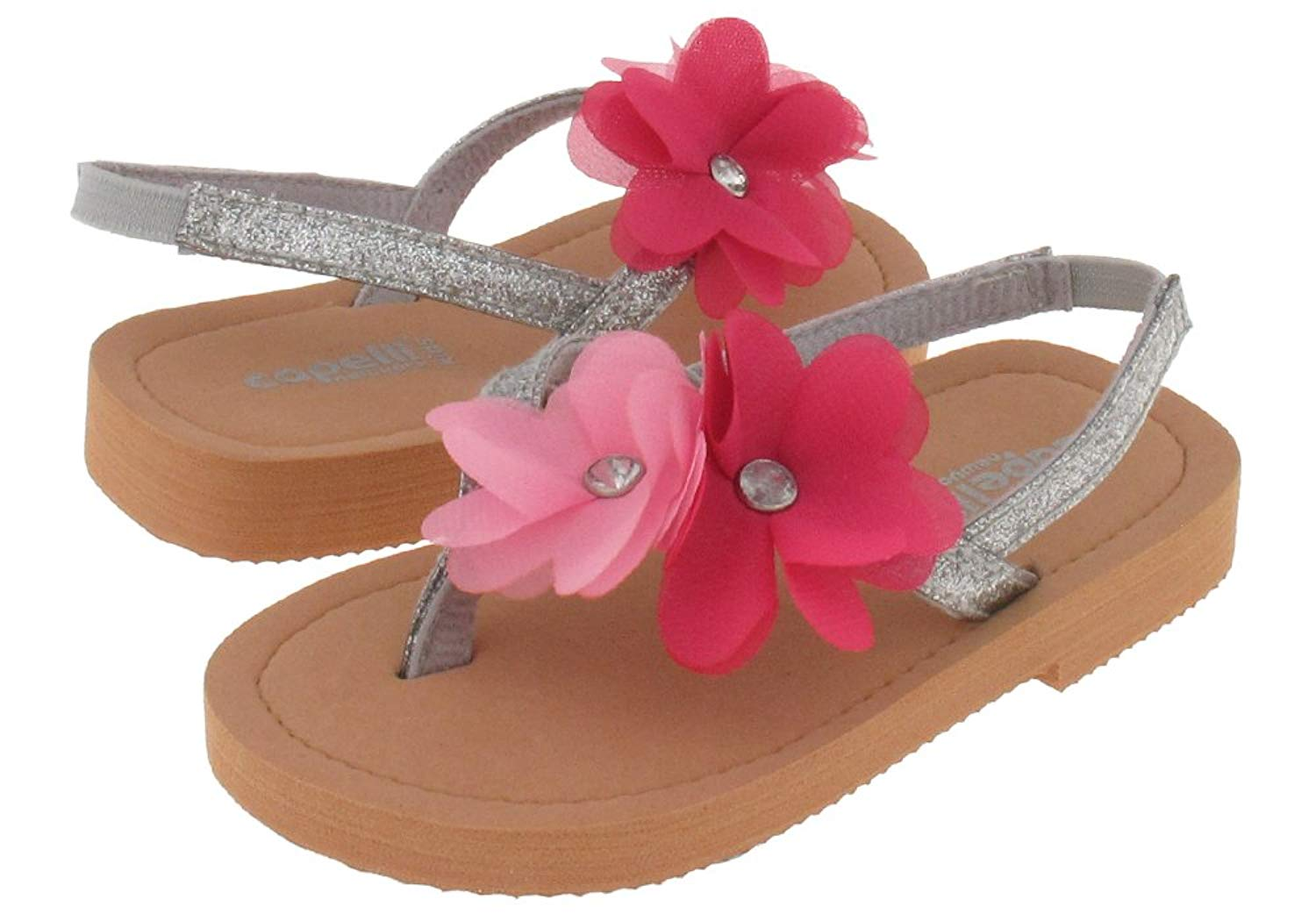 Capelli New York Glitter patent thong with flowers Toddler Girls Flip Flops